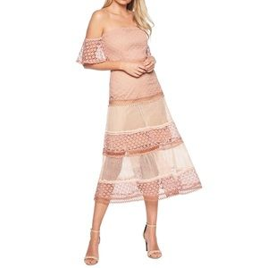 NWT Bardot Kristen Off Shoulder Lace Midi Dress